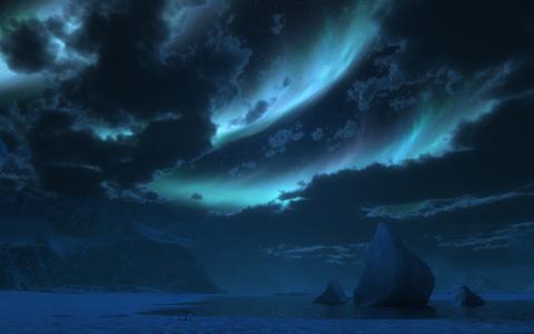 发光,cg,夜,雪