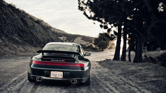 道路,保时捷,跑车,树木,速度