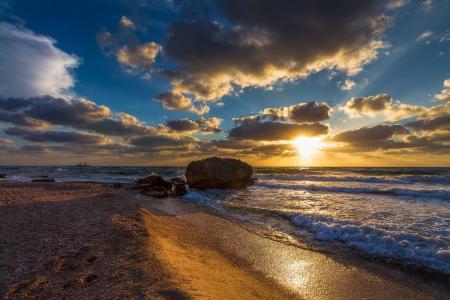 海,波浪,战斗,岸,沙,云,太阳,日落,塞尔吉奥黄金