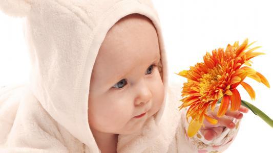 花,宝贝,孩子