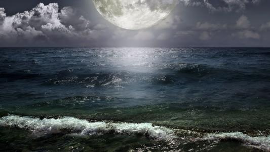 海,月亮,夜晚