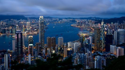 多云,城市,香港,早上,香港