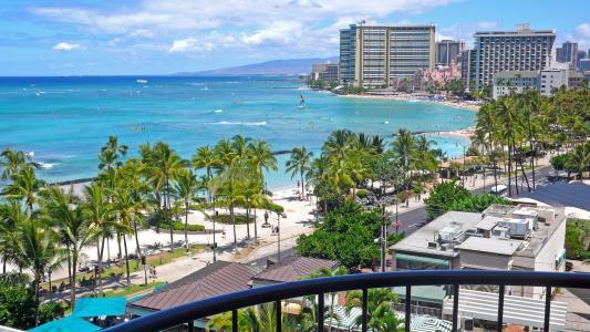 檀香山,沙滩,夏威夷,沙滩,夏威夷,大海