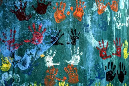 照片,创意,墙上,手掌,纹理
