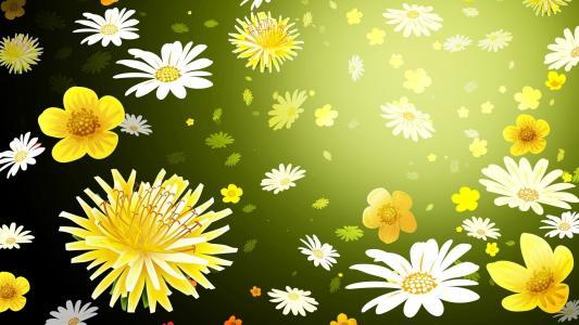 鲜花,模式,背景,雏菊,蒲公英