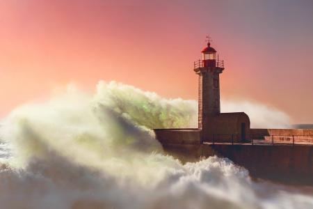 灯塔,风暴,波,喷雾,天空,美丽,防波堤