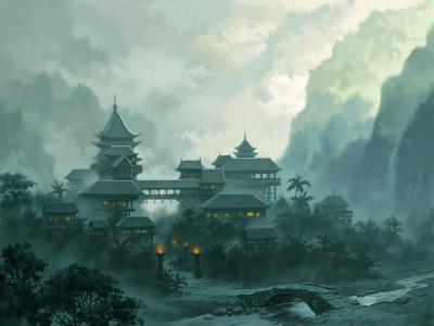 玉器王朝,河,景观,雾,城市,山,桥,灯