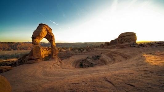 日落,拱门国家公园,美国,峡谷,悬崖,日落