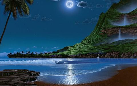 岛,棕榈树,沙,山,瀑布,天空,云,月亮