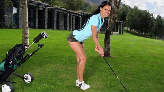 Melisa Mindy,高尔夫,草坪,短裤