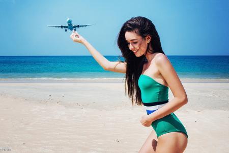 海,岸,女孩,比基尼,微笑,飞机
