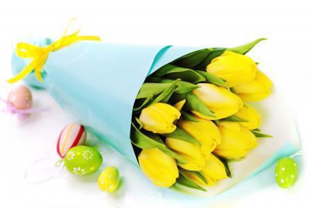 鸡蛋,鲜花,郁金香,花束,复活节,复活节