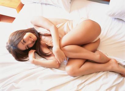 kiguchi,绫,日本,亚洲,模型,黑发,床,内衣,可爱,微笑,女人,性感,热,内裤