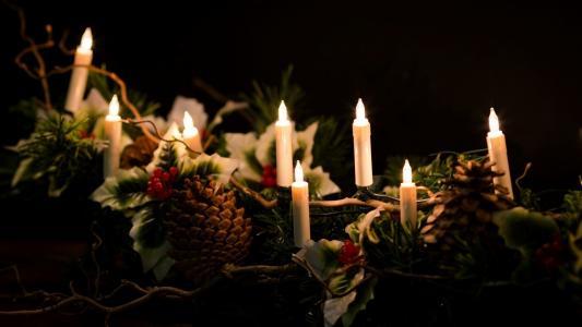 蜡烛,颠簸,花环,新的一年