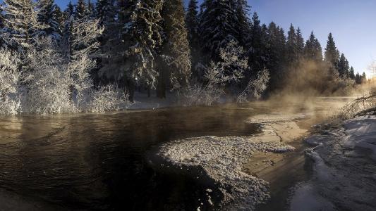 冬天,河,美丽,性质