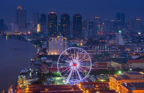 大都会,夜晚的城市,首都,泰国,曼谷