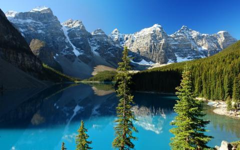 水,山,树,天空,性质,宽屏