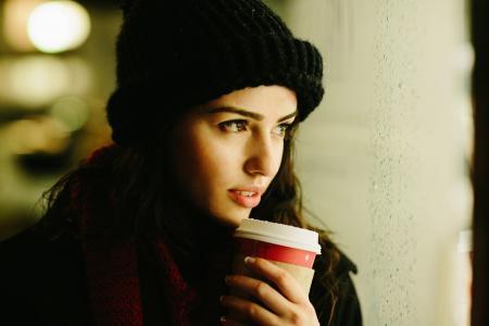 女孩,微笑,帽,咖啡