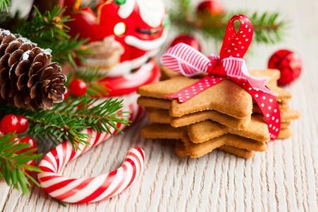 烘烤,丝带,星星,新年,饼干,甜点