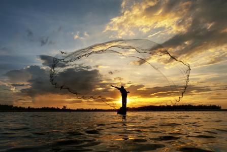 早晨,日出,太阳,河,湖,船,渔夫,净,投掷