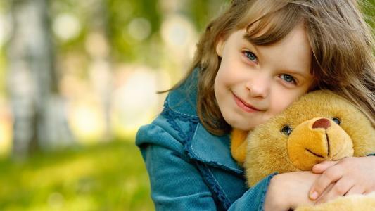孩子,女孩,小,泰迪,微笑,喜悦
