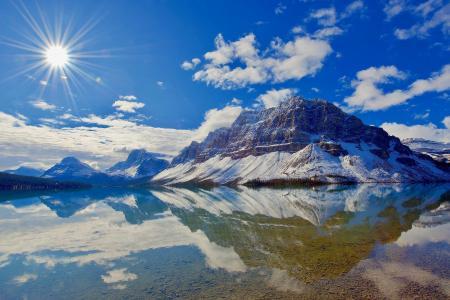 天空,山,水,杰西·萨达兰,湖,加拿大,太阳
