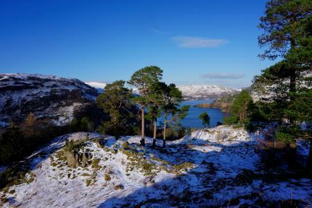 英格兰,河,冬天,小山,雪,性质