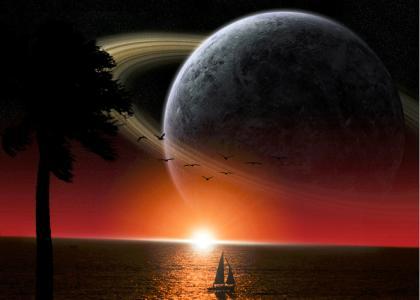 棕榈树,海,游艇,天空,金星