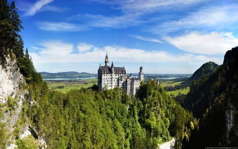 山脉,旅游,风景,城堡,德国,从网络,noyshvastein,巴伐利亚阿尔卑斯山