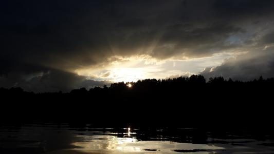 日落,黄昏,黄昏,云,天空,湖