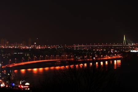 基辅,夜晚的城市,莫斯科的桥,第聂伯河