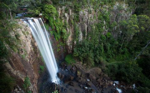 性质,瀑布,顶视图,水,石头,山,树,岩石,步道,具有里程碑意义