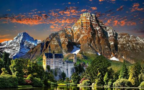城堡,湖泊,山地森林