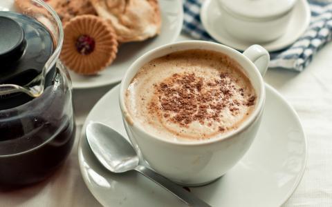 茶碟,奶油,杯子,咖啡