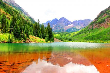 山,大自然,湖,美女,超级照片