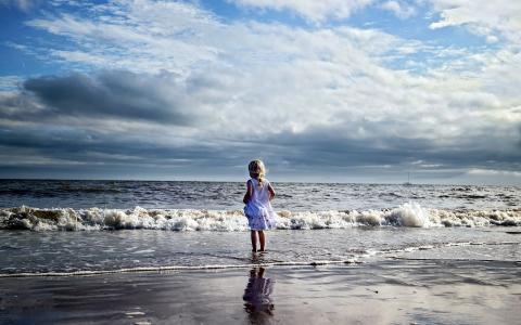 海,岸,天空,海滩,女孩,心情,景观
