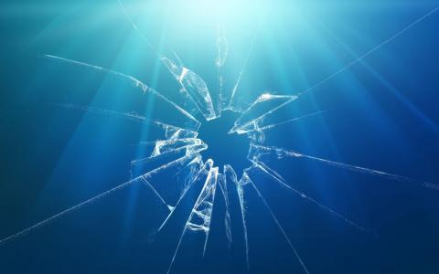 屏幕,破碎,蓝色背景