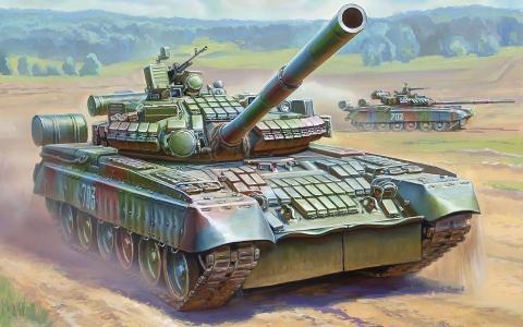 主,大炮,战斗,坦克,125毫米,俄罗斯,T-80BV