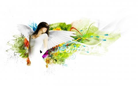 女孩,棕色头发,翅膀,背景,鲜花,涂料