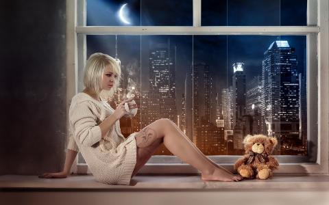 女孩,窗口,泰迪熊