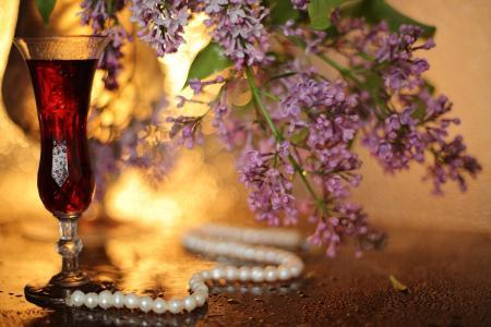 玻璃,饮料,装饰,项链,珍珠,分支机构,丁香,滴,水,散景