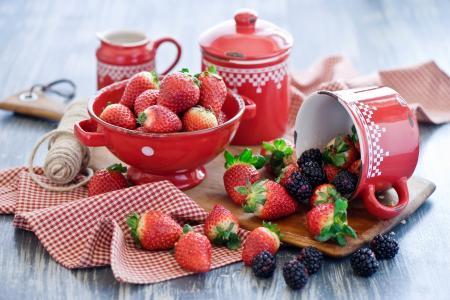 炊具,草莓,浆果,黑莓,夏天