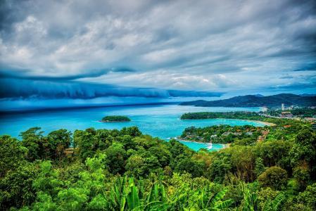 自然,热带,阴云密布
