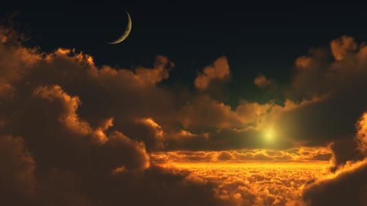 天空,月亮,同伴,云,空间,光,太阳,photoshop