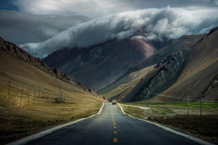 路,车,云,山,西藏,云