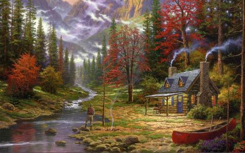 托马斯·金凯德,好生活,绘画,托马斯·金凯德,山,河,渔夫,火,森林,冷杉,房子,小屋,小屋,船,图片