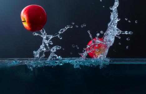 宏,苹果,水,喷雾,滴,美女,苹果,背景