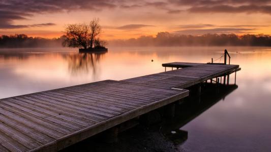 雾,湖,林间空地,天空,水,桥,日落