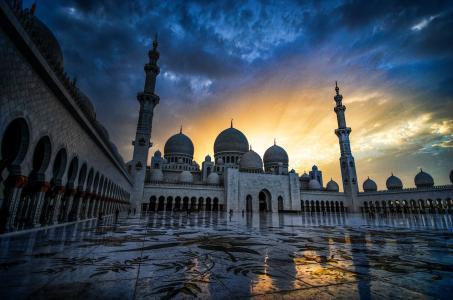 阿拉伯联合酋长国,谢赫扎耶德大清真寺,阿布扎比,谢赫·扎耶德大清真寺,阿拉伯联合酋长国,阿布扎比,日落