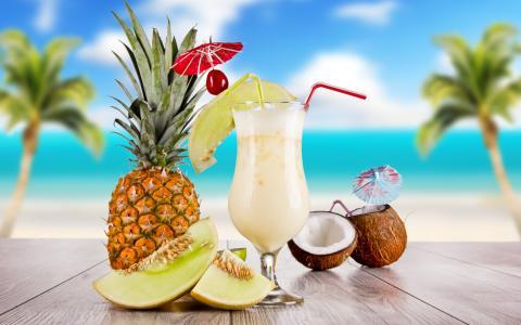 水果,热带,鸡尾酒,酒精,玻璃